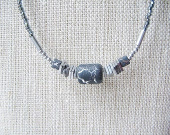 Beaded necklace, seed bead necklace, glass bead necklace, metal bead necklace, inexpensive necklace, affordable jewelry, minimalist necklace