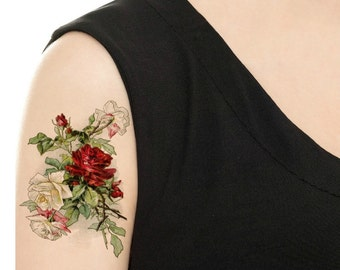 Temporary Tattoo -  Blue Floral / Rose Bouquet Tattoo - Various Sizes