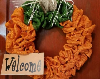 Burlap Pumpkin Welcome wreath