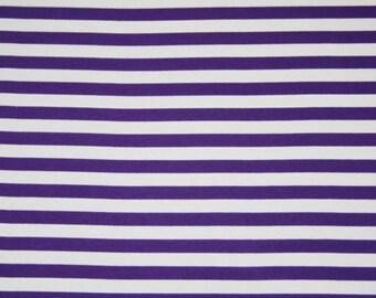 "Knit Eggplant 1/2"" Stripes Fabric 1/2 yard"