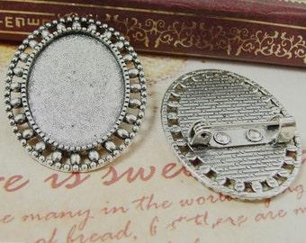20pcs Antique Silver Oval Brooch Bases, Brooch Setting, 18x25mm Brooch Settings, Brooch Backs