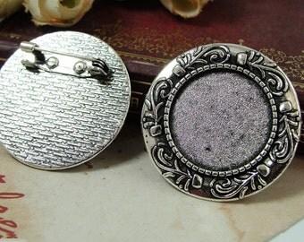 20pcs Brooch Bases, Brooch Setting, 20mm Antique Silver Round Brooch Settings, Brooch Backs