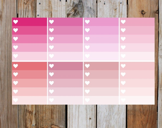 Pink Heart Check Box Planner Stickers in Glossy - Shades Of Pink | for use with ERIN CONDREN Life Planner