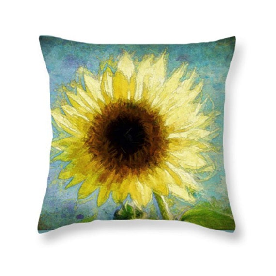 Items similar to Sunflower Throw Pillow, Floral Throw Pillow, 100% Cotton Fabric, Throw Pillow ...