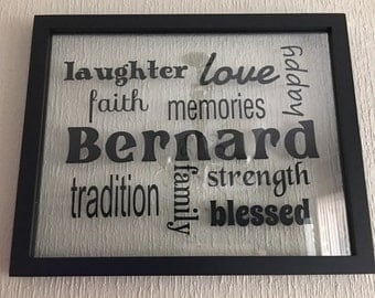 Family Name decal for frame or wall