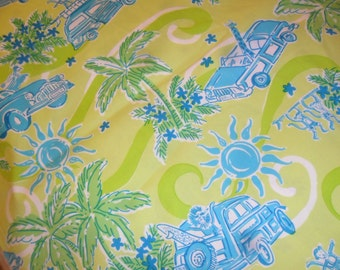 "Lilly Pulitzer Fabric 2 yards plus(Cruisin)""Free Shipping"""