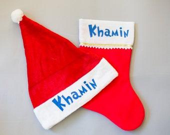 Christmas Stocking, Custom Stocking, Personalized Christmas Stockings, Family Christmas Stocking, Santa Hat, Personalized Santa Hat, Santa