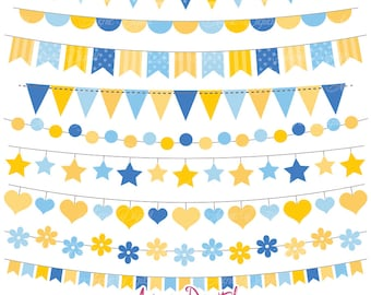 Hanukkah Bunting Banner Clipart. Scrapbook printable, Vector banners .eps. Party Clip art, yellow and blue flag banner