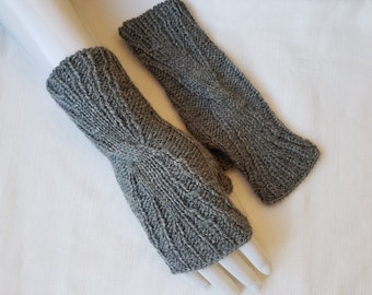 Grey wristlets, grey fingerless mittens, grey gloves  hand knitted,  gift for her, gift for Christmas