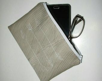 Embroidered Zipper Pouch Clutch / Make up purse / Pencil Case