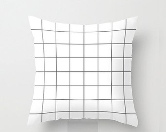 XO SALE Decorative throw pillow cover, Black and white modern geometric grid decorative pillow cover, 18 inch. Double sided Print