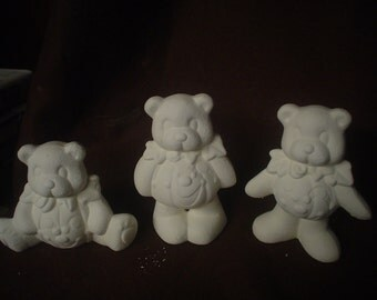 "Ceramic Bisque Three 4"" Halloween Jack-O-Lantern Pumpkin Teddy Bears-Ready to Paint-C631"
