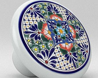 Blue Flower Talavera Style Ceramic Knob