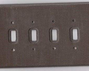 Wooden Quadruple Toggle Light Switch Plate.