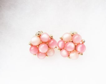 "Lisner Pink Bauble 1"" Clip On Earrings-1960s Spring and Summer Pink-Signed Lisner Jewelry"