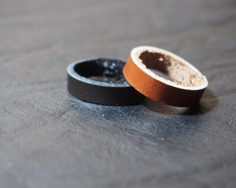 Womens and mens ring-Unisex leather ring band-Handstitched Leather ring-handmade charm blue beads leather ring band-Wedding Ring Band