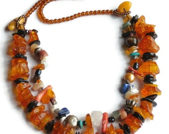 collar two-row amber natural and semi precious stones, inspired by nature