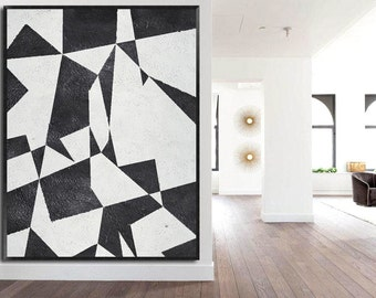 Large oil painting-Original Abstract painting on canvas-Black and white shapes