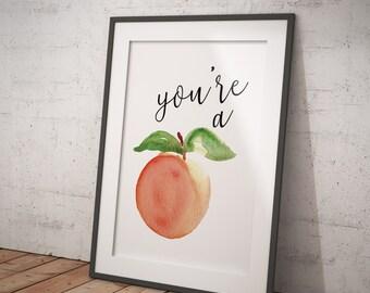 Peach Watercolor Print - Instant Download