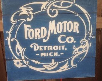 "Ford Motor Company vintage logo wood sign 10""x10"""