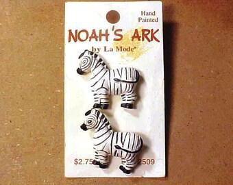 Noah's Ark buttons 2 Zebras La Mode
