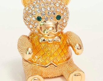 Jewelry box for girl - Faberge style trinket box - Teddy Bear - Austrian crystals - Golden color - kod396p
