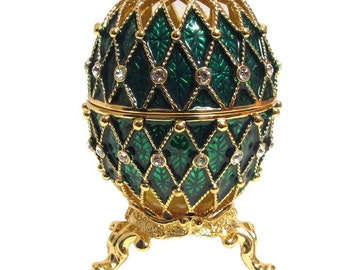 Faberge style egg gilded Openwork green jewelry box Austrian crystals - kodfb47