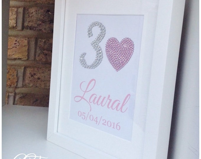 Personalised crystal print, great birthday gift & can also be for anniversaries. Sparkle, any colour. Pearl or crystal