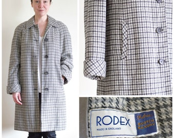 Gray wool houndstooth a-line overcoat from Rodex