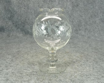 Tintage Etched Glass Footed Globe Vase