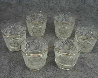 Libbey Glassware Holiday Tumblers Gold Rim