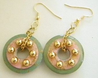 Pastel Green Pink Round Dangle Pierced Earrings with Chain