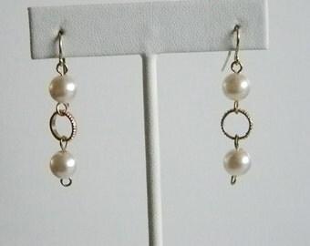 Gold Finish White Pearl Dangle Pierced Earrings