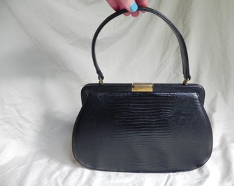 1950's or 1960's Vintage Black Lizard Embossed Leather Handbag Purse by Palizzio