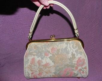 Vintage 1950's Beige Vinyl and Pink Floral Tapestry Handbag Purse