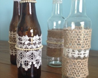 Upcycled Glass Embellished Bottles, Glass Bottles, Clear, Brown, Embellished Centerpiece, Tablescape, Wedding, Party, Country, Rustic