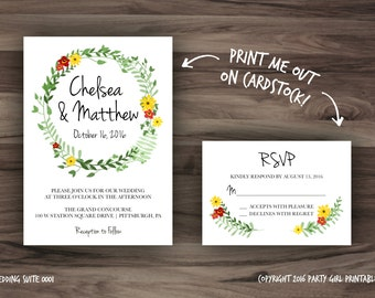 Printable Wedding Invitation - Wedding Suite - RSVP - Digital Download - Rustic - Shabby Chic - Floral Wedding Invitation