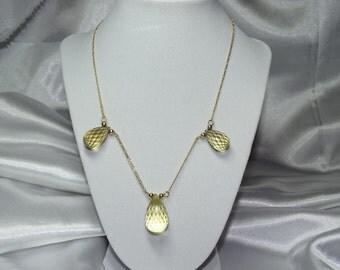 Citrine Tear Drop Gold Necklace