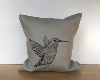 Bird pillow, bird pillow cover, hummingbird pillow, custom pillow, canvas pillow, bird throw pillow, housewarming gift, throw pillow