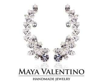 Crystal ear cuff, Climbing earrings, Silver ear cuff, Elegant earrings, High Fashion, Bridal earrings, Gift for women, Designer earrings.