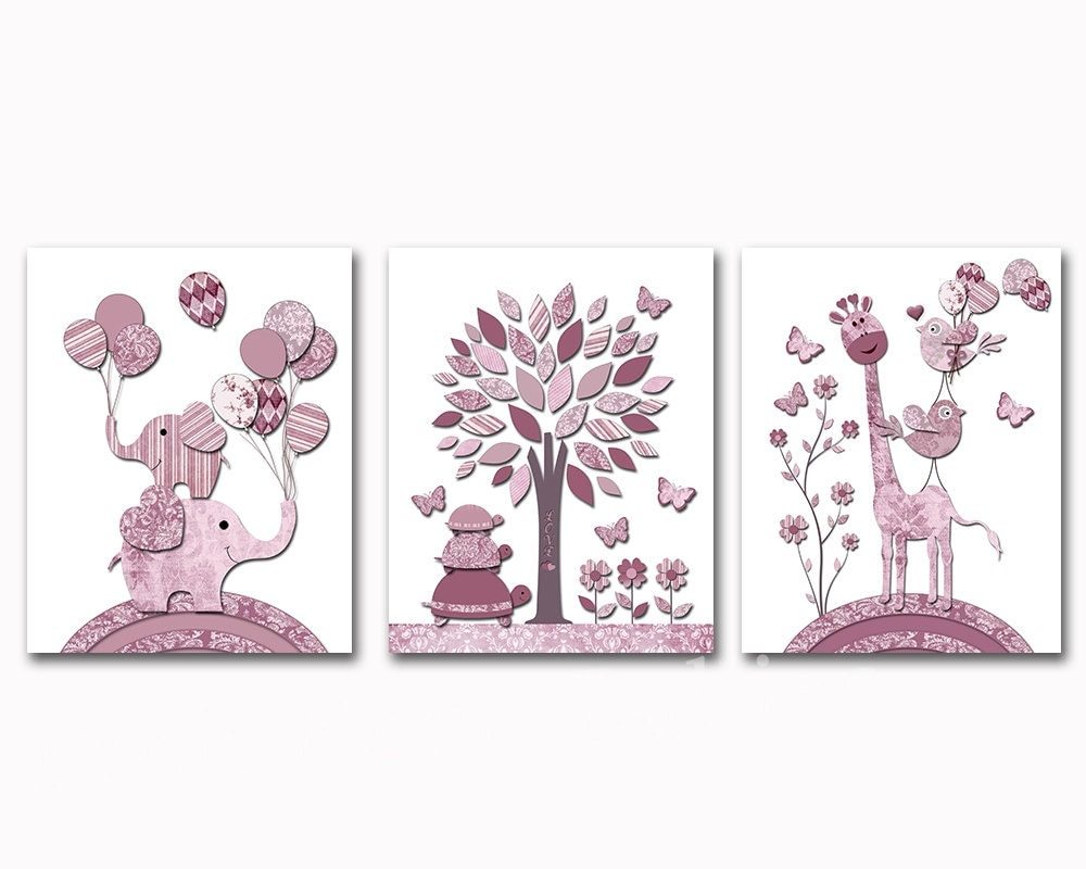 red grey elephant nursery wall art baby girl room decor