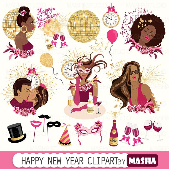 New Year clipart: HAPPY NEW YEAR clipart with dark