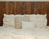 Hanger * Queen Headboard - Honey Oil-Based Stain. Made with 3 Barn Walls blocks. Hang on the wall like picture frames. Easy Installation