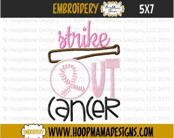Breast Cancer Awareness Embroidery Design, Strike Out Cancer,  4x4 5x7 6x10 Machine Embroidery Design pes jef dst hus vip vp3 exp