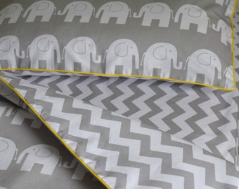 100%COTTON Single Bed Duvet Cover Set Girls Boys Grey , Elephants & Chevron yellow  piping Fabricco