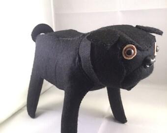 Felt Black Pug Dog - Large