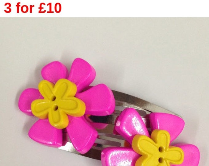 Pink and yellow flower button children's hair clip, flower hair clip, children's hair accessories, pink and yellow hair clip, button hair