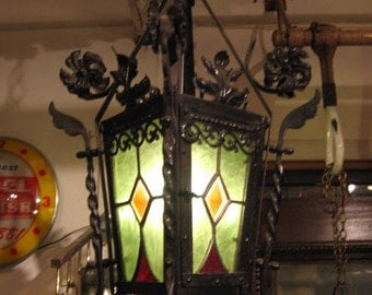 Antique French Victorian Wrought Iron & Leaded Glass Chandelier, Antique Chandelier, Vintage Chandelier, Wrought Iron Pendant Light