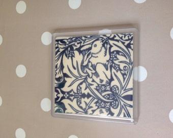 Handmade coaster in William Morris rabbit fabric