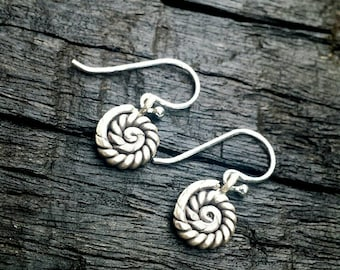 Hill Tribe Silver spiral tribal earrings